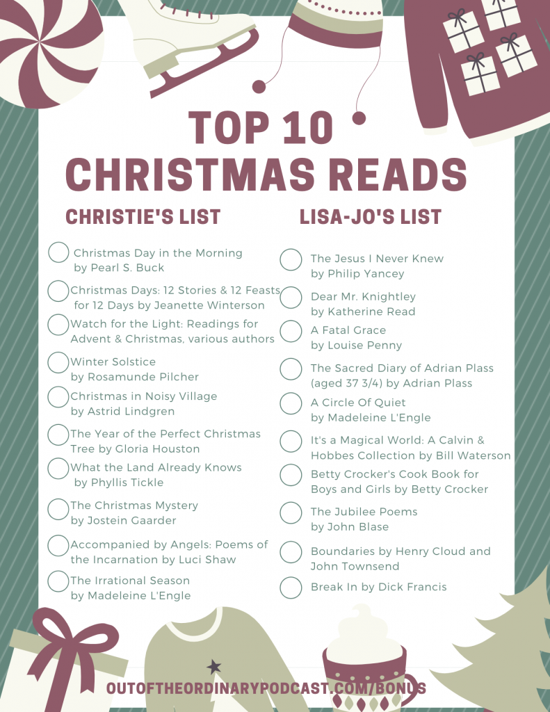 Top Ten Christmas Reads from Out of the Ordinary Podcast